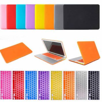 iClover Laptop Matte Case Cover with Rubber Keyboard Skin For Apple Macbook Air Pro Retina 11/13/15 Laptop Case