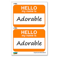 Adorable Hello My Name Is - Sheet of 2 Stickers