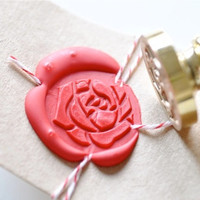 Rose Flower Floral Gold Plated Wax Seal Stamp x 1