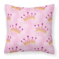 Watercolor Princess Crown on Pink Fabric Decorative Pillow BB7546PW1414