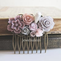 Plum Wedding Hair Comb Mauve Grey Taupe Dusty Pink Soft Lilac Light Purple Flower Hair Slide Custom Bridal Hair Pin Bridesmaid Gift PM