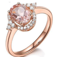 AMAZING 6.51CT PINK ROUND STUD 925 STERLING SILVER ENGAGEMENT AND WEDDING RING