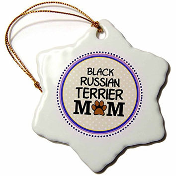 3dRose orn_151698_1 Black Russian Terrier Dog Mom-Doggie Mama-Paw Print-Doggy Lover Proud Pet Owner-Snowflake Ornament, 3-Inch, Porcelain