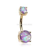 Golden Opal Sparkle Prong Set Belly Button Ring (Purple)