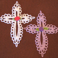 Small Lace Cross Crocheted Ornament or Bookmark from Heritage Heartcraft
