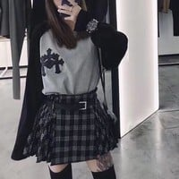 """""""Chrome Hearts"""" Women Fashion Cool Embroidery Leather Cross Logo Long Sleeve Bottoming T-shirt Tops"""