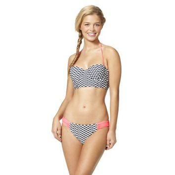 Xhilaration® Junior's Geometric 2-Piece Midkini Swimsuit -Navy/White