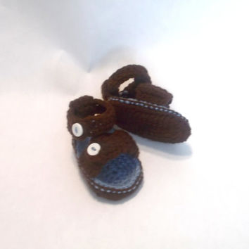 Sandals, brown, BABY BOY,  Baby Shoes, Crochet Sandals, Baby Sandals, brown, 0 3 6 9 12 Months, Baby, Shoes, brown and blue,