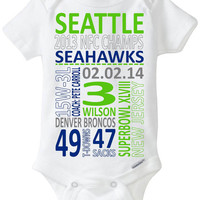 Superbowl XLVIII (2014): Seattle Seahawks vs Denver Broncos - Subway Art embellished Gerber brand Onesuit - perfect outfit for baby!