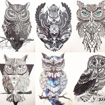 6pc set 21X15cm Black Flying Owl Fastion Party Temporary Tattoo Combo for Cool Girls and Man Tattoo #013