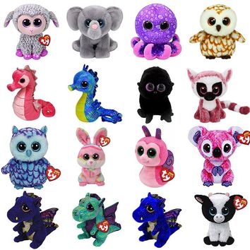 "Ty Drala Beanie Boos 6""15cm Dragon Set Saffire Cinder Anora Bat seahorse Plush Regular Stuffed Animal Collectible Soft Doll Toy"