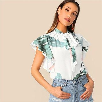 SHEIN Boho White Tie Neck Tropical Print Butterfly Sleeve Top Blouse Women Summer Stand Collar Elegant Workwear Tops and Blouses