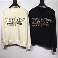GUCCI HOT SALE Letter Round neck letters printed long sleeve sweater