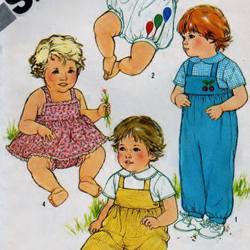 Simplicity 5355 Sewing Supply Pattern Babies Overalls in two lengths, Shirt, Sundress And Bloomers - No ENVELOPE - PATTERN UNCUT