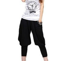 Allegra K Lady Elastic Waist Stretchy Hip Hop Capri Pants Black S