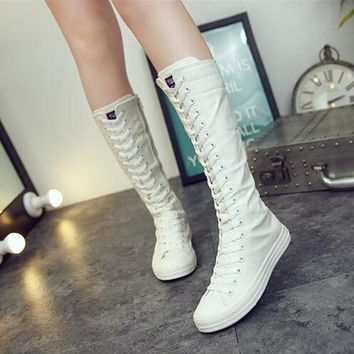 US SIZE Canvas High Knee Women Walking Shoes Side Zip Black White Breathable European Style Women Sneakers Flat Heel Zapatos Mujer