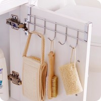 Stainless Steel Bathroom Kitchen Organizer Hanger Hooks With 5-Hook Towel Hat Coat Clothes Cabinet Draw Door Wall Hooks D0211
