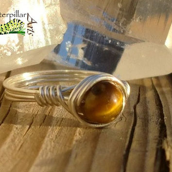 Tiger's Eye Ring Wire Wrapped - Made to Order - Silver Plated Copper