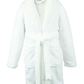 Bare Cotton Kids Microfiber Fleece Shawl Robe - Girls - White - Medium