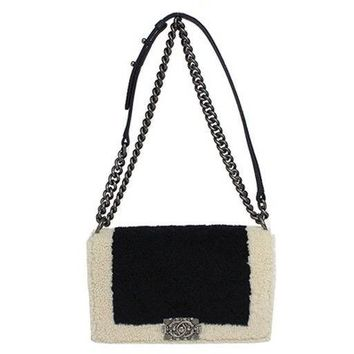 CHANEL Boy Chanel Women Silver chainbag Mouton navy Beigewhite Shoulder Bag