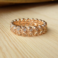 Vintage Petal Diamond Eternity Band