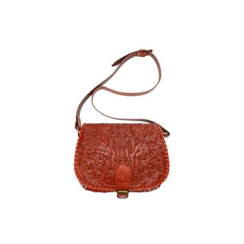 Ladies Genuine Tan Leather Custom Hand Tooled Floral Design Flap Saddle Bag 2-215-4R-TAN