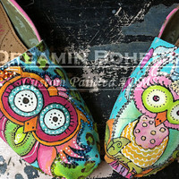 Colorful Whimsy OWLS design hand painted on YOUR TOMS  design fee only