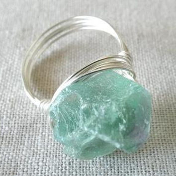 Fluorite Ring - Green Stone Ring - Raw Stone Ring - Wire Wrapped Jewelry Handmade - Chunky Ring - Unique Ring - Gifts Under 20 - Big Stone