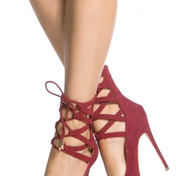 Wine Faux Suede Lace Up Pointed Toe Heels @ Cicihot Heel Shoes online store sales:Stiletto Heel Shoes,High Heel Pumps,Womens High Heel Shoes,Prom Shoes,Summer Shoes,Spring Shoes,Spool Heel,Womens Dress Shoes