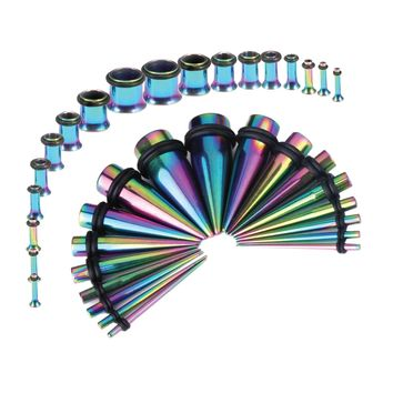 BodyJ4You Gauges Kit 36 Pieces Rainbow Anodized Stainless Steel Tapers Plugs 14G-00G