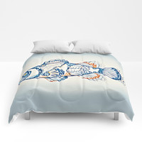 BLUE FISH Digital Painting Comforters by digitaleffects