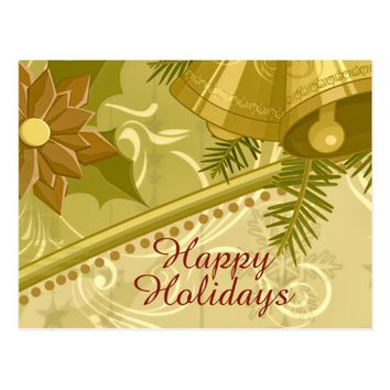 Abstract Mustard Golden Brown Christmas Postcard