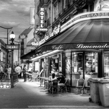 PARIS FRANCE CAFE Night Street Lights French Photographic Photo Print Black and White
