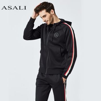 ASALI 2018 Men's Set Spring Autumn Men Streetwear 2 Piece Set Sporting Suit Jacket+Pant Sweatsuit Men Clothing Tracksuit Set