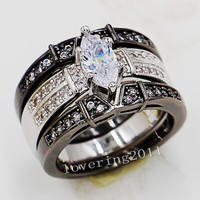Hot sale Marquise Cut white Sapphrie Simulated Diamond 14KT white/Black Gold GF 3-in-1 Women Wedding Ring Set Size 5-11 for love gift
