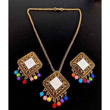 Afghani design - Antique gold finish mirror pasted multicolor bead hanging pendant chain necklace and earring set - Diamond design