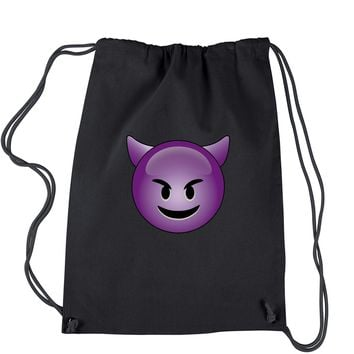 Color Emoticon - Happy Devil Face Smiley Drawstring Backpack