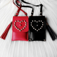 A pair of handmade Leather Phone case / Wallet / Hand bag / sister / iphone5 4s / leather case / friend / Girls / For Her / Birthday gift