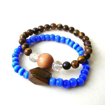 Tigers Eye Bracelets, Beaded Skull Bracelet, Trendy Bracelet