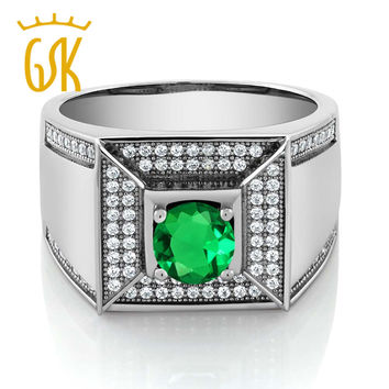 Charms 925 Sterling Silver Gemstone Men Ring Green Simulated Emerald Rings For Men Fashion Fine Jewelry Gem Stone King