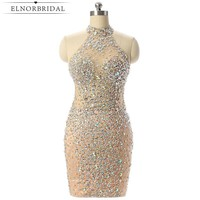 Luxury Champagne Short Prom Dresses Mermaid 2018 Beading Crystal Imported Party Dress Vestido Formatura Evening Gowns