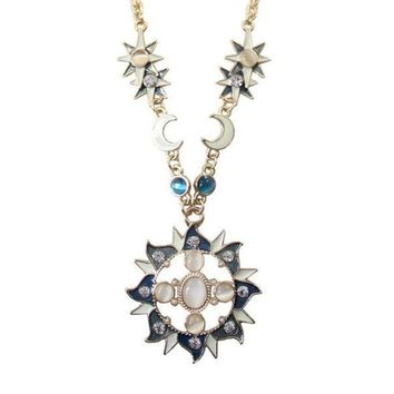 PEAPUG3 Cat's eye stone sun moon stars hollow retro Pendant Necklace sweater chain = 1929650820