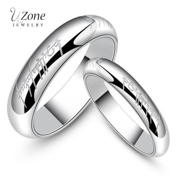 UZone Stainless Steel Silver Hobbits Rings Lord of One Ring Movie Jewelry Simple Wedding Bands Finger Ring Gift For Hip Hop Men
