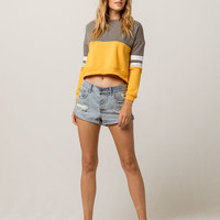 FULL TILT Color Block Womens Crop Sweatshirt