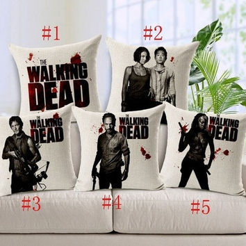 (Size=Pattern Size 1 = #1) Fashion The Walking Dead Pillow Cases Cover Daryl Rick Printed Pillowcase 45x45cm [8045588423]