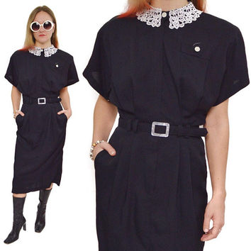 Vintage 80s All That Jazz Lace Peter Pan Collar Goth Dress