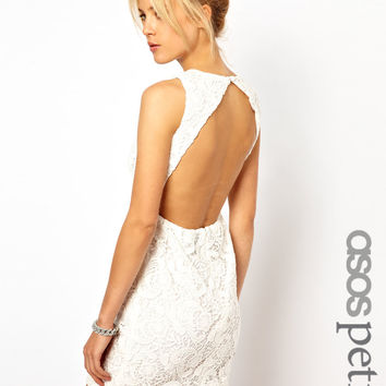 ASOS PETITE Exclusive Shift Dress In Crochet Lace And Cut Out Back