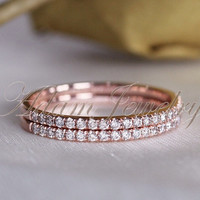 Only One Ring! 0.17ct  VS Diamonds 14k Rose Gold Wedding Ring/ Band/ Engagement Ring/ Matching Band/ Half Eternity Band/ Fine Ring