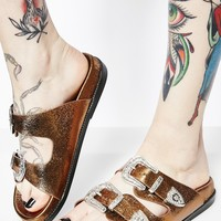 Bronze On The Move Buckle Sandals