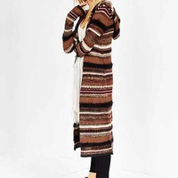 Ecote Mixed Textured Striped Maxi Cardigan- Brown Multi